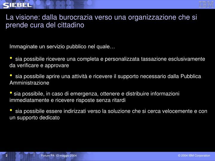 La visione: dalla burocrazia verso una organizzazione che si prende cura del cittadino