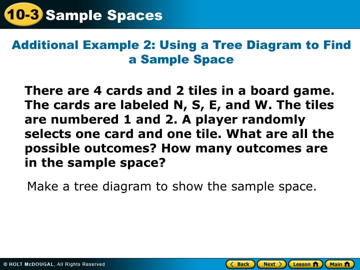 Additional Example 2: Using a Tree Diagram to Find a Sample Space