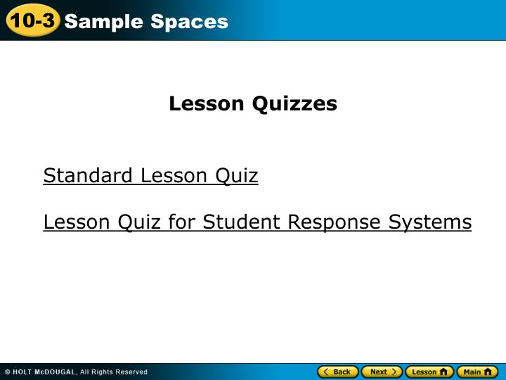 Lesson Quizzes