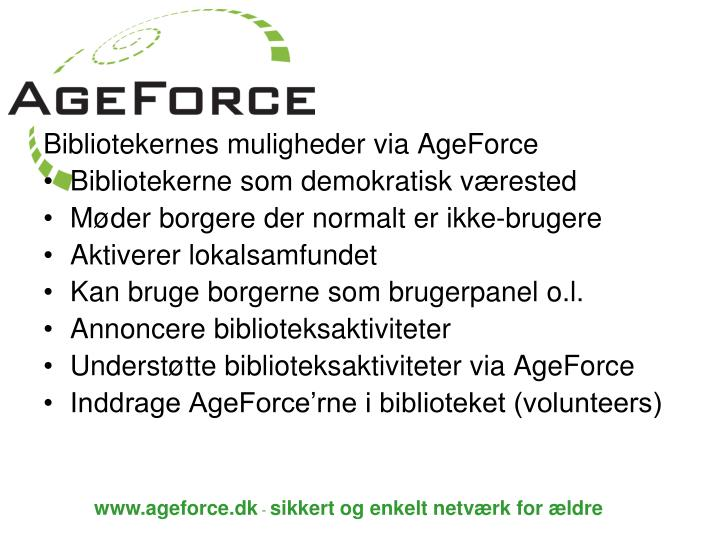 Bibliotekernes muligheder via AgeForce