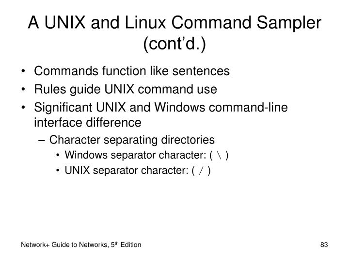 A UNIX and Linux Command Sampler (cont'd.)