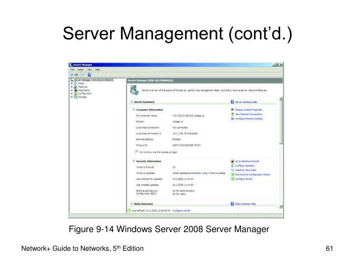 Figure 9-14 Windows Server 2008 Server Manager