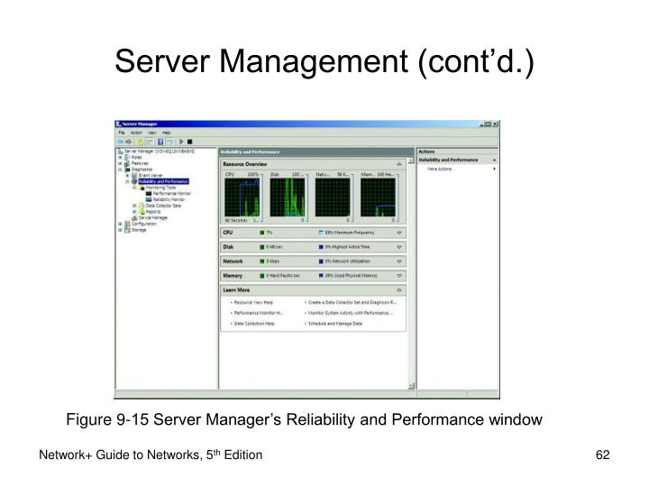 Figure 9-15 Server Manager's Reliability and Performance window