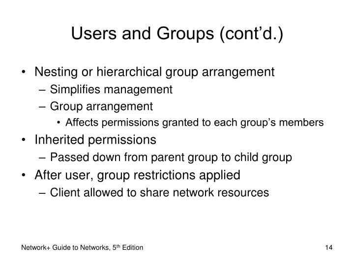 Users and Groups (cont'd.)