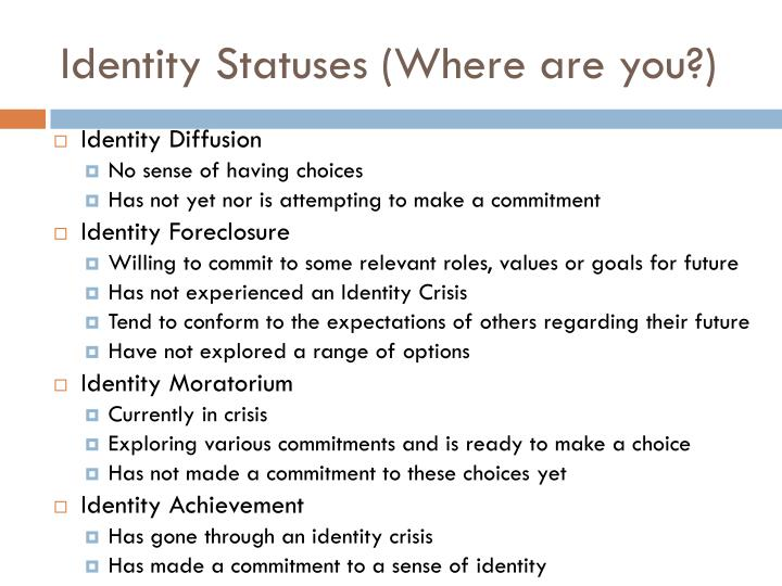 Identity Statuses (Where are you?)