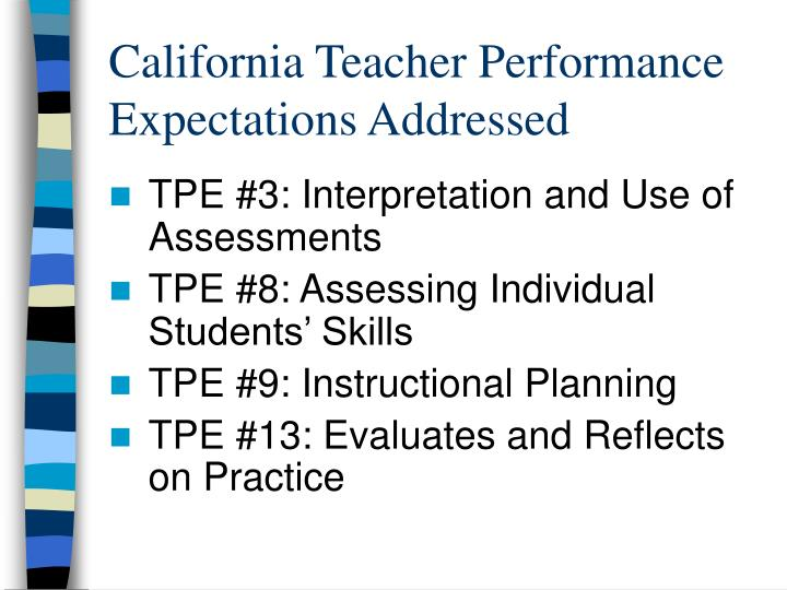 California Teacher Performance Expectations Addressed