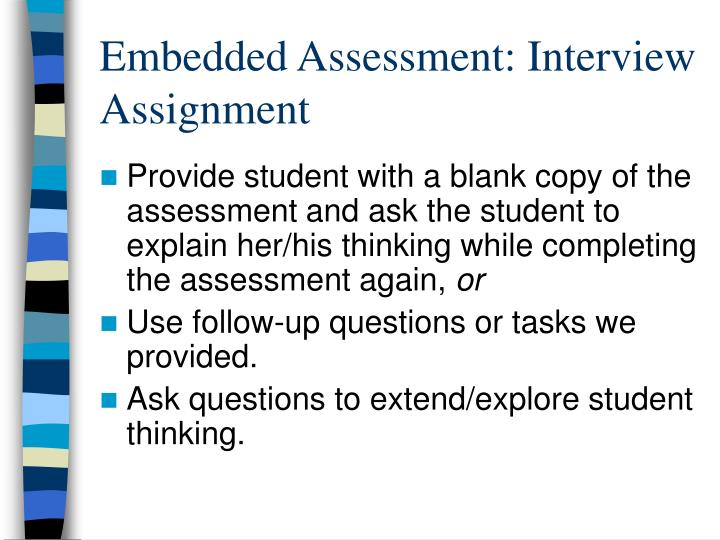 Embedded Assessment: Interview Assignment