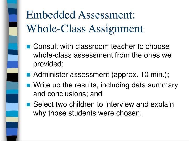 Embedded Assessment: