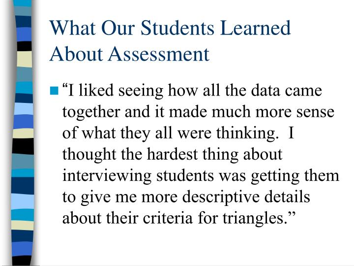 What Our Students Learned About Assessment