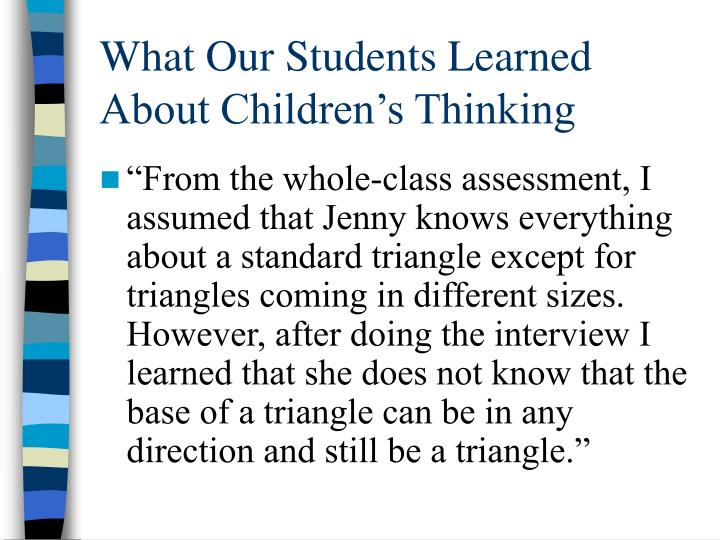 What Our Students Learned About Children's Thinking