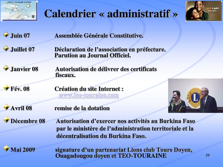 Calendrier «administratif»