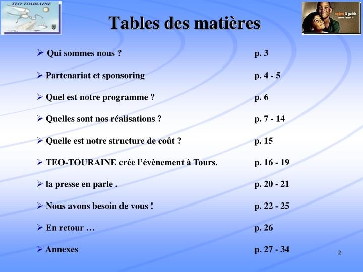 Tables des mati res