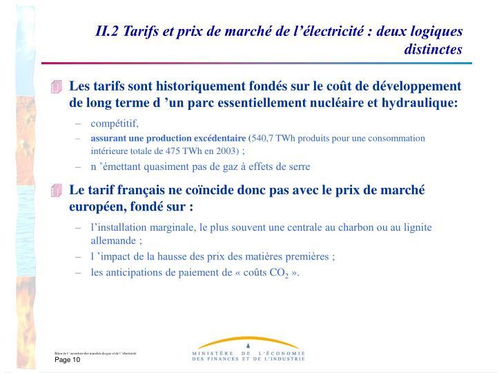 II.2 Tarifs et prix de marché de l'électricité : deux logiques distinctes