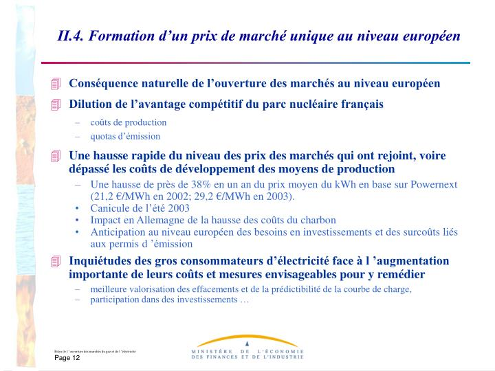 II.4. Formation d'un prix de marché unique au niveau européen