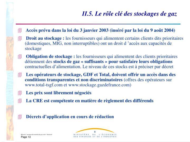 II.5. Le rôle clé des stockages de gaz
