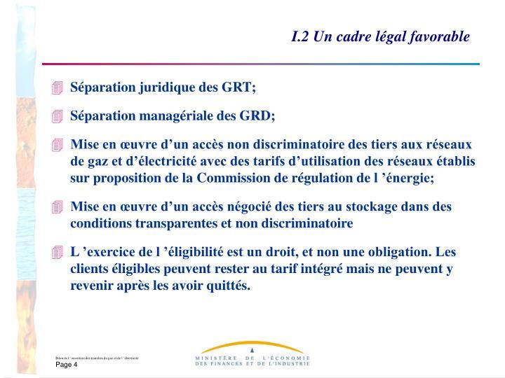 I.2 Un cadre légal favorable