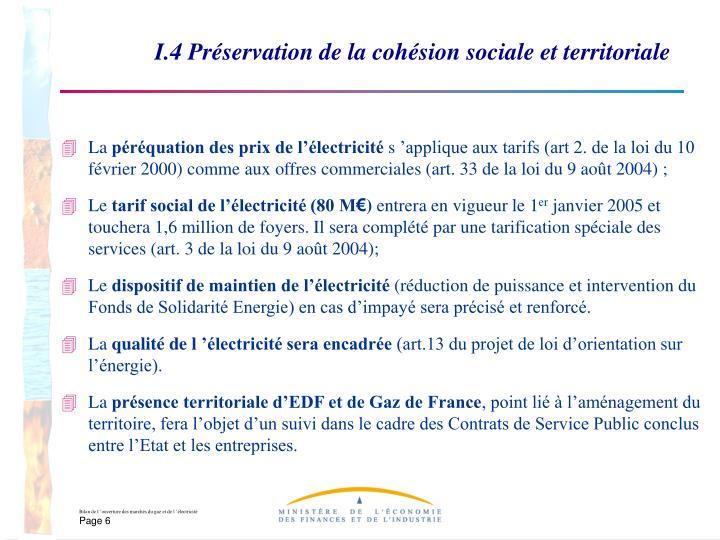 I.4 Préservation de la cohésion sociale et territoriale