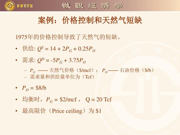 案例:价格控制和天然气短缺