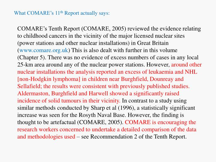 What COMARE's 11