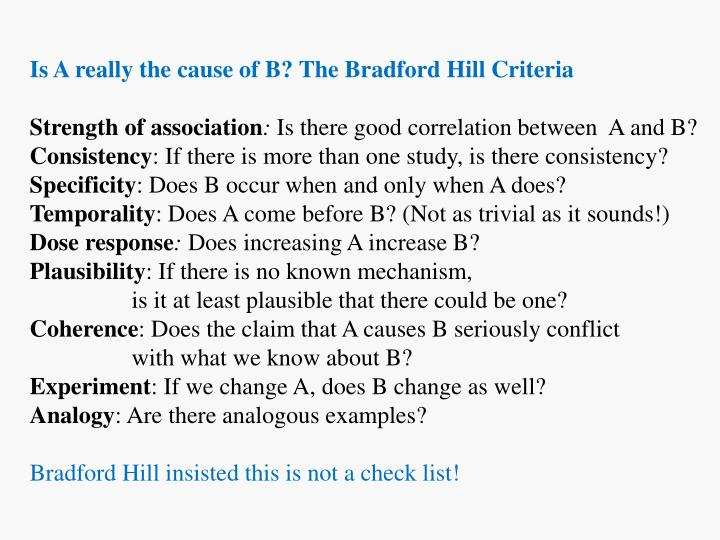 Is A really the cause of B? The Bradford Hill Criteria
