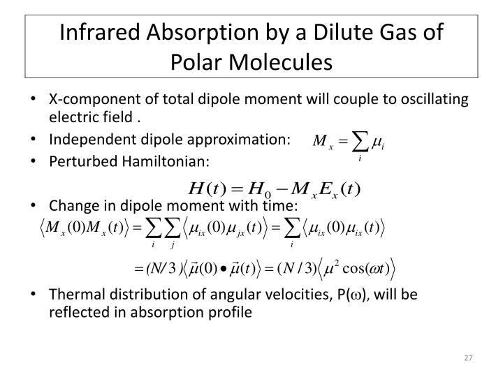 Infrared Absorption by a Dilute Gas of Polar Molecules