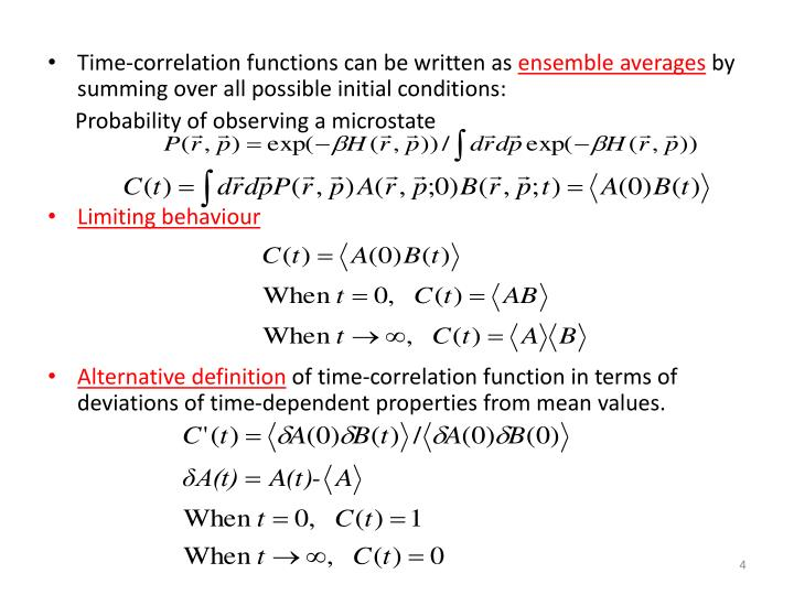 Time-correlation functions can be written as