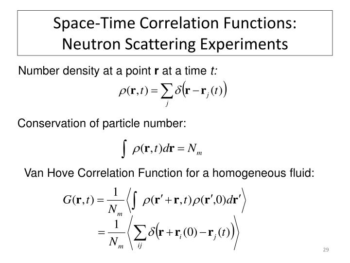 Space-Time Correlation Functions: