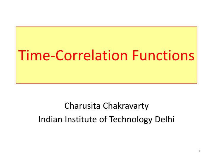 Time correlation functions