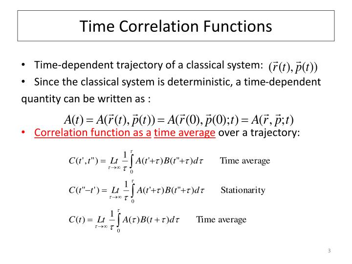 Time correlation functions1