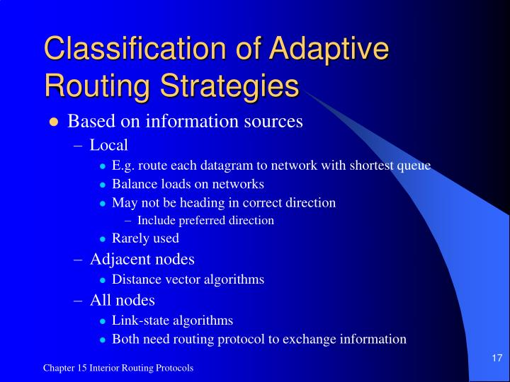 Classification of Adaptive Routing Strategies