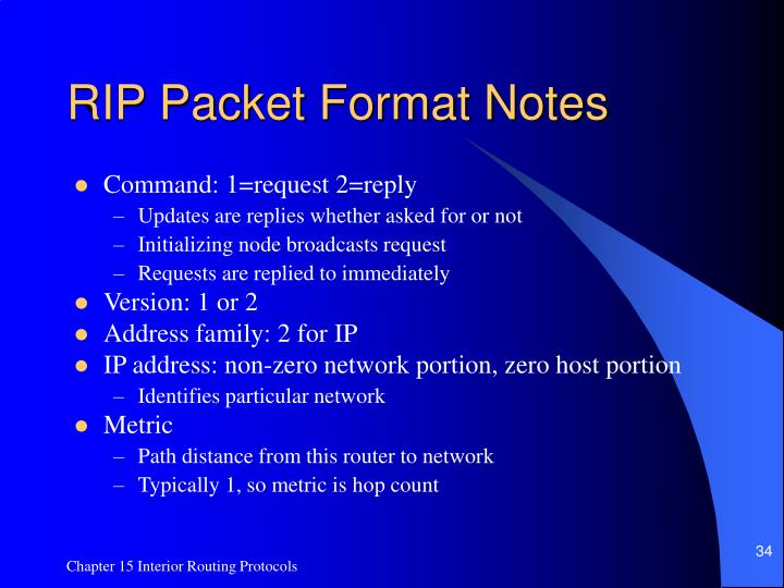 RIP Packet Format Notes