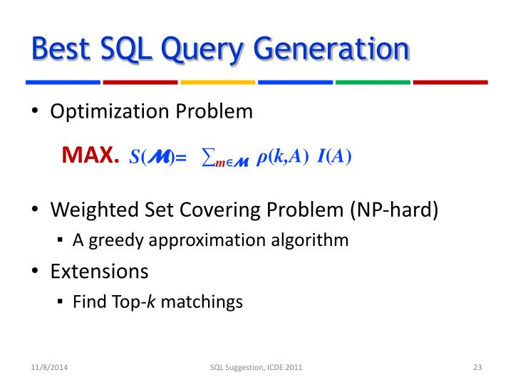 Best SQL Query Generation