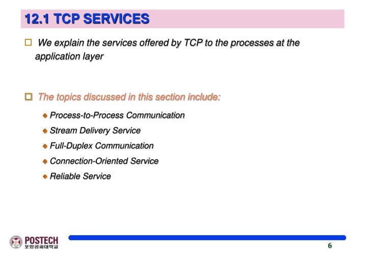 12.1 TCP SERVICES