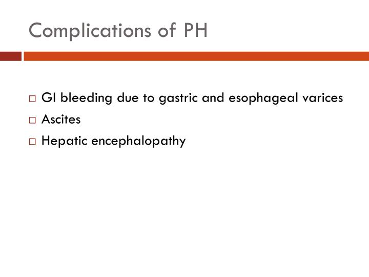 Complications of PH