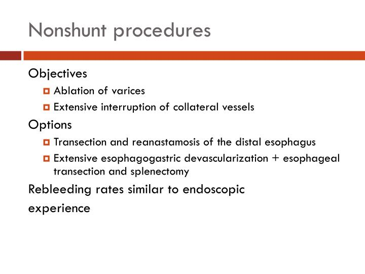 Nonshunt procedures