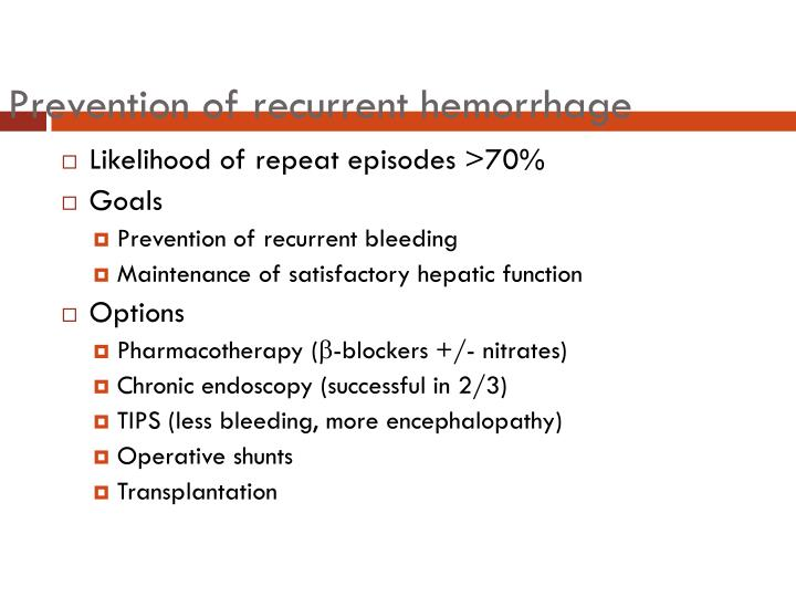 Prevention of recurrent hemorrhage