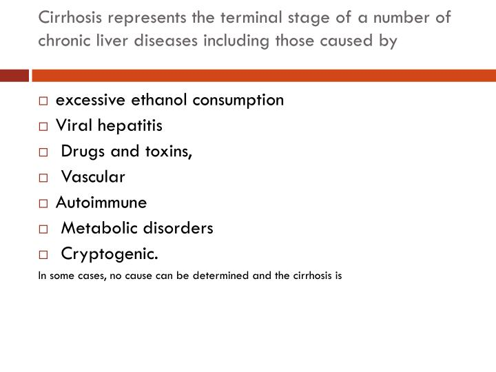 Cirrhosis represents the terminal stage of a number of chronic liver diseases including those caused by