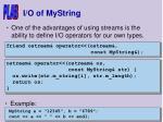 i o of mystring