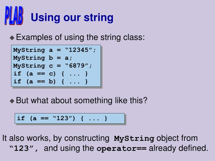 Using our string