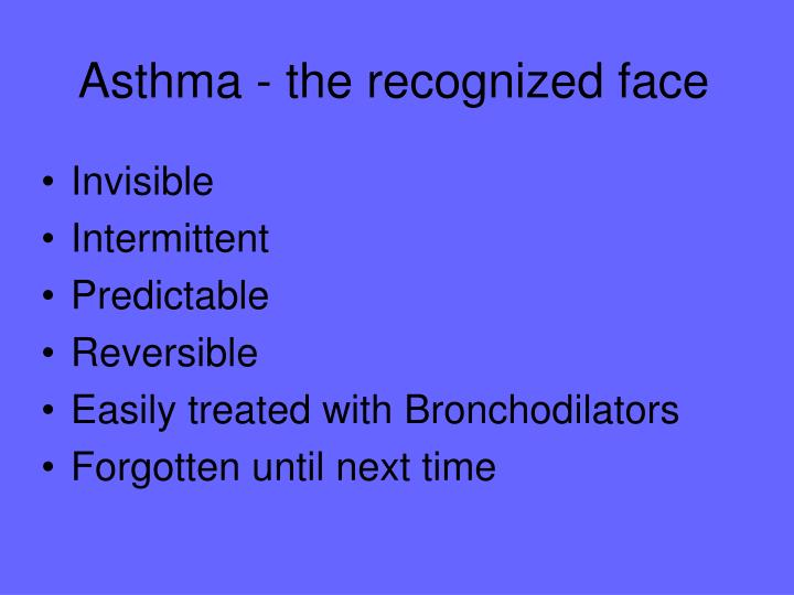 Asthma - the recognized face