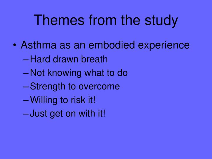Themes from the study