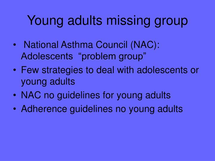 Young adults missing group