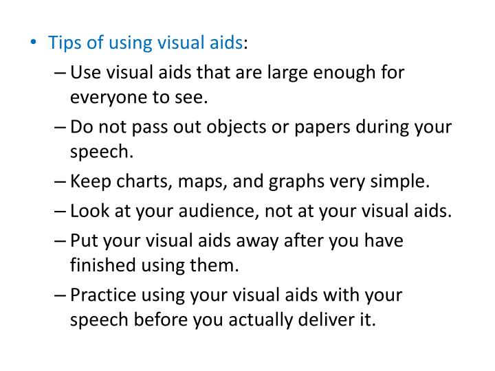 Tips of using visual aids