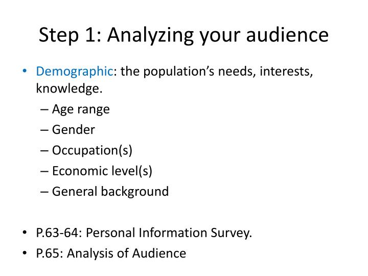 Step 1: Analyzing your audience