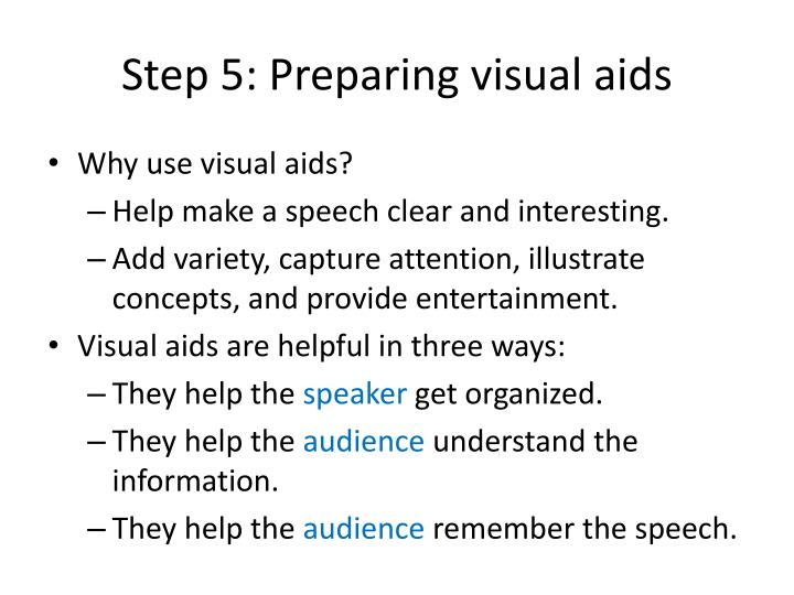 Step 5: Preparing visual aids