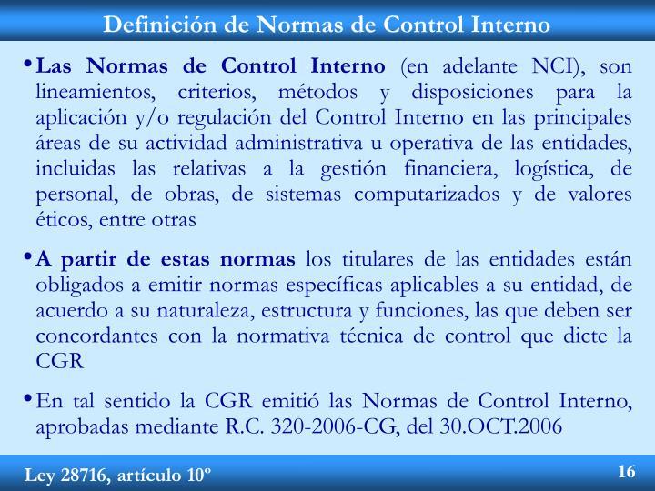 Definición de Normas de Control Interno