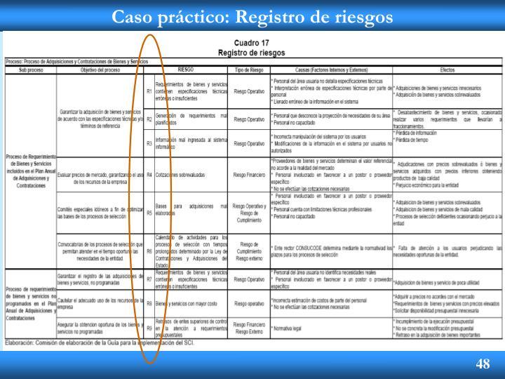 Caso práctico: Registro de riesgos
