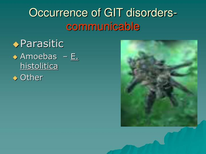 Occurrence of GIT disorders-