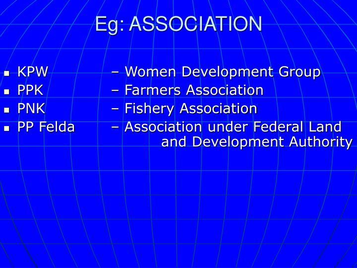 Eg: ASSOCIATION