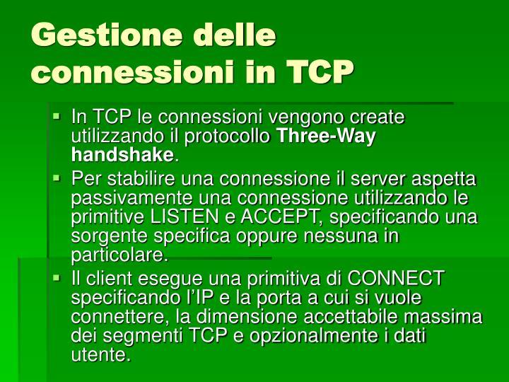Gestione delle connessioni in TCP
